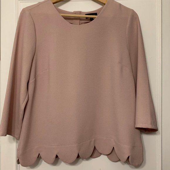 The Limited Pink Scalloped Top